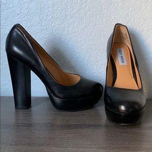 Platform black leather heels